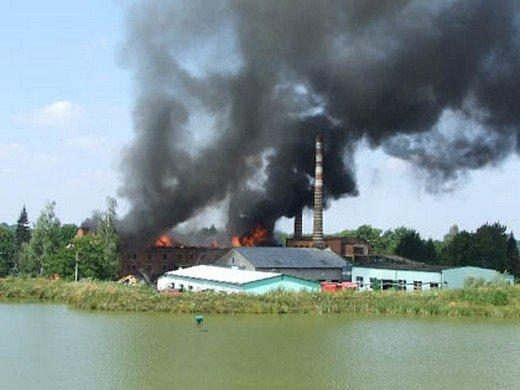 Pożar cegielni w Bestwinie