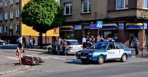 Wypadek motocyklisty w centrum