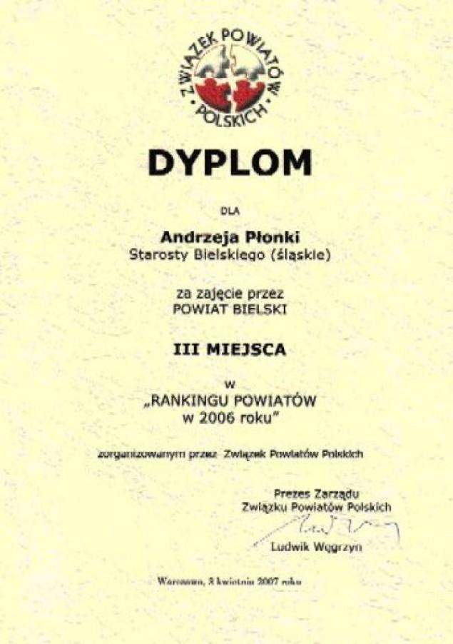 Sukces w Rankingu Powiatów 2006