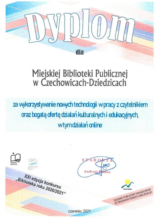 """Czechowicka MBP z wyróżnieniem w konkursie """"Biblioteka roku"""""""