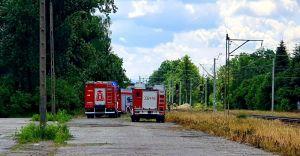 Pożar traw wzdłuż torowiska przy ul. Brzozowej w Czechowicach