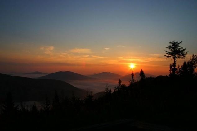 wschód słońca, beskidy