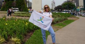 Weronika Paszek i logo Czechowic-Dziedzic w Buenos Aires
