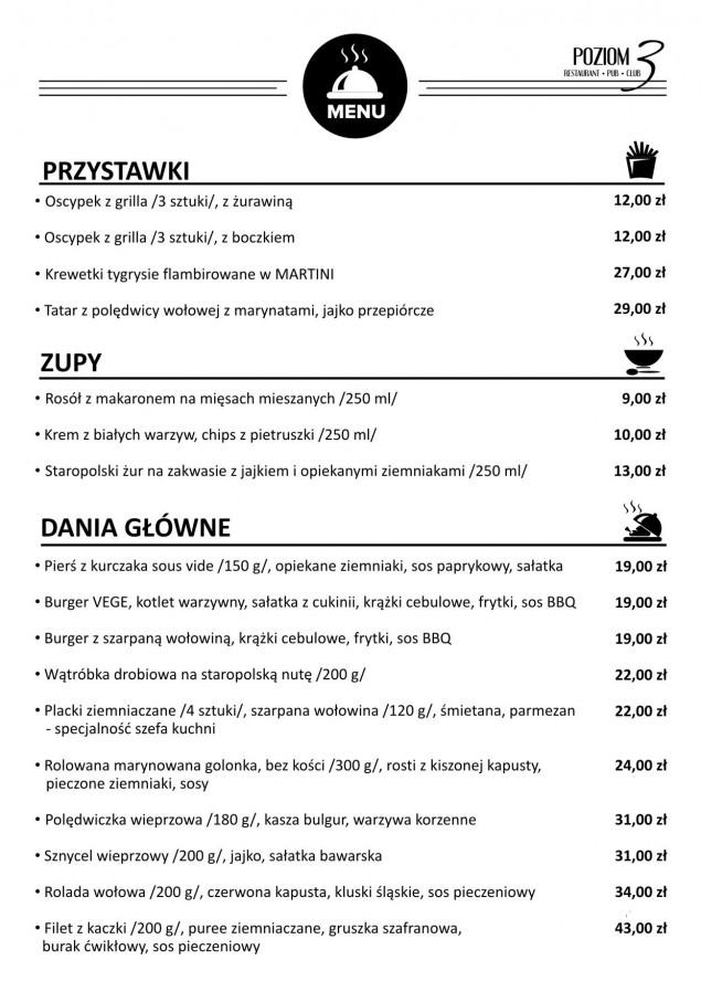 Nowe menu Restauracji Poziom 3