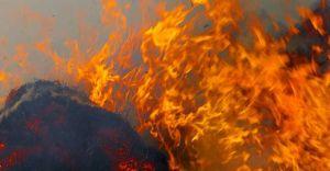 Pożar śmieci na dzikim wysypisku