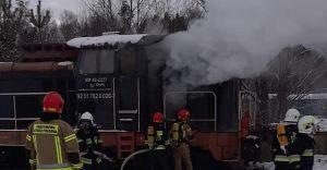 [FOTO] Pożar lokomotywy na stacji towarowej Zabrzeg-Czarnolesie