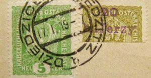 [Historyczne ciekawostki] Dziedzickie stemple pocztowe z 1919 roku