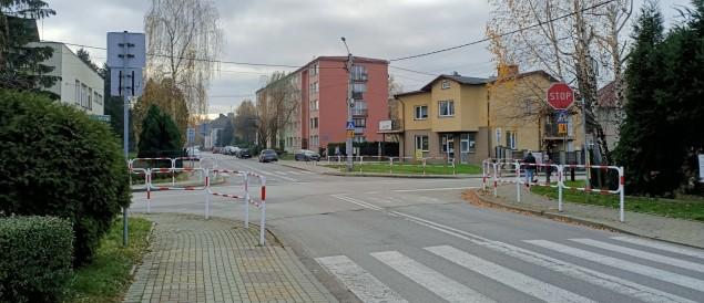 Skrzyżowanie ulic Mickiewicza i Sobieskiego w Czechowicach-Dziedzicach - 18.11.2020
