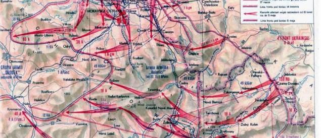 Mapa działań wojsk radzieckich w 1945 r. na terenie Śląska Cieszyńskiego