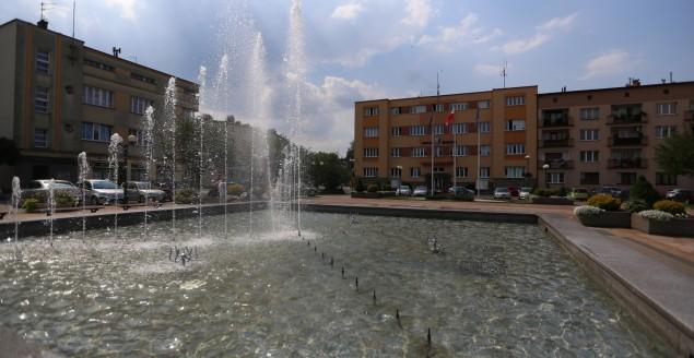 Plac Jana Pawła II, fontanna, Urząd Miejski